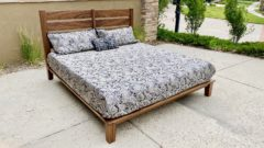 slat-back platform bed with mattress