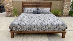 slat-back platform bed with mattress front